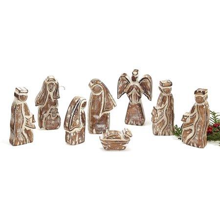 8-Piece Whitewashed Wooden Nativity Set ()