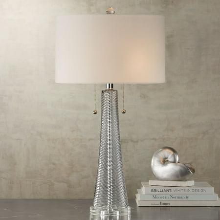 Possini Euro Design Modern Table Lamp Gray Swirl Fluted