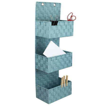 Home Basics 3-tier Polyester Woven Hanging Bin, Teal
