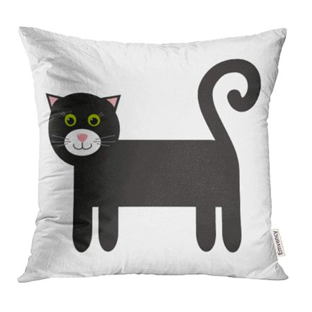 ARHOME Pink Character Black Cat with Green Eyes Cartoon Cute Animal Pet Whiskers Children Pillow Case Pillow Cover 20x20 inch Throw Pillow (Green Cartoon Eyes)