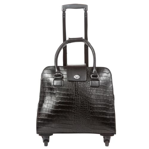Hang Accessories Black Crocodile Carry-on Rolling Spinner Tote Bag