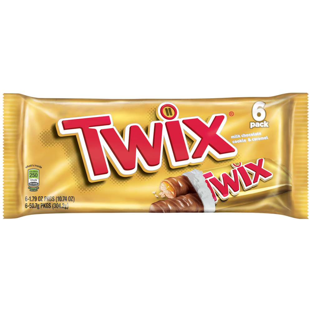 TWIX Caramel Full Size Chocolate Cookie Bar Candy Pack, 1.79 oz 6 Pack