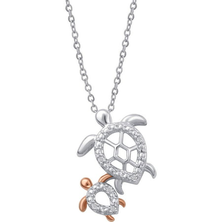 "Diamond Accent Two-Tone Turtle Mom and Child Pendant, 18"" Chain"