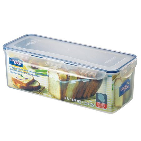 Lock & Lock Easy Essentials Pantry Bread Box and Divided Food Storage Container, 21.1-Cup