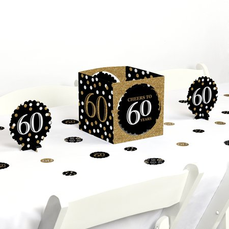 60th Table Decorations (Adult 60th Birthday - Gold - Birthday Party Centerpiece & Table Decoration)
