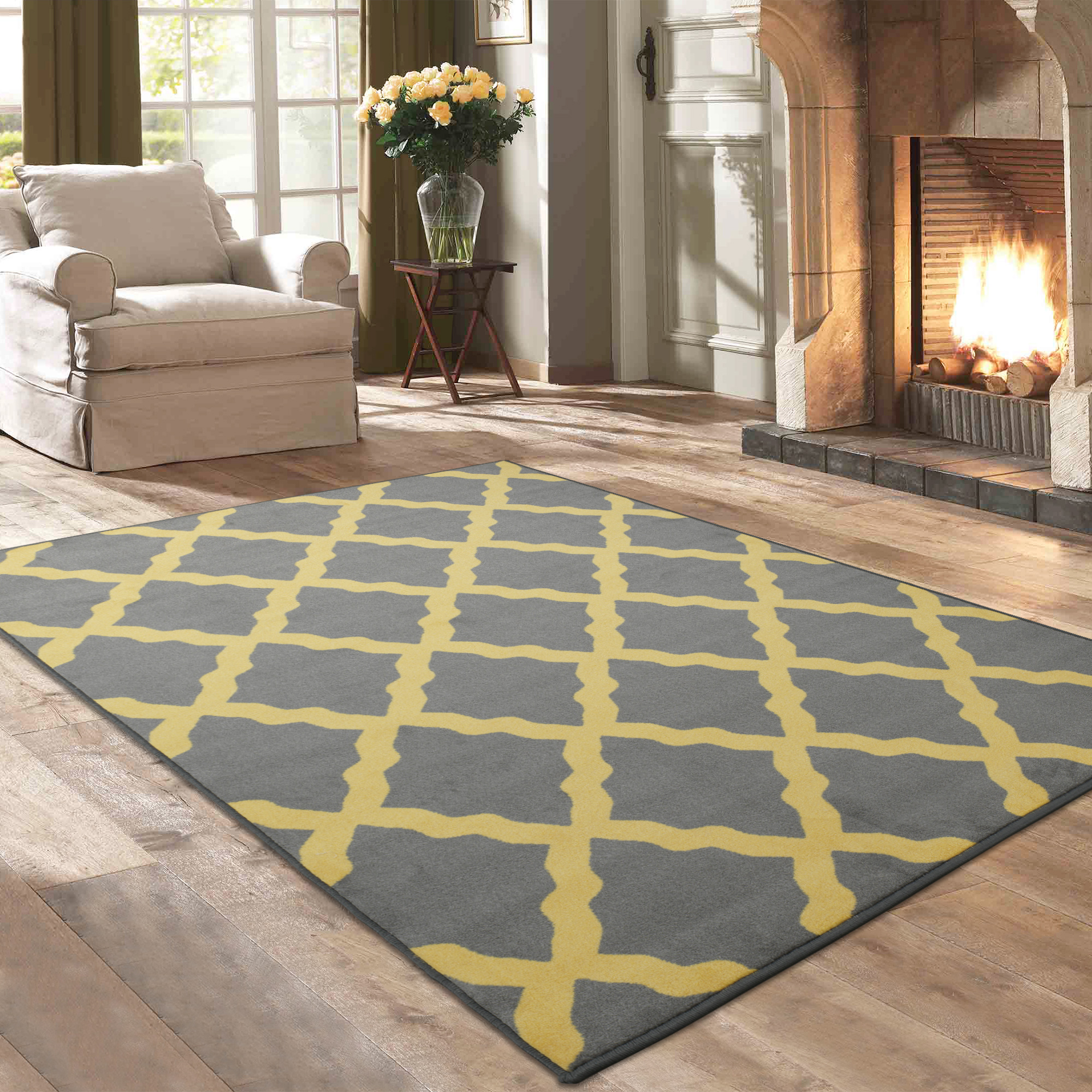 "Ottomanson Studio Collection Yellow Moroccan Trellis Design 5'0""X6'0"" Area Rug"
