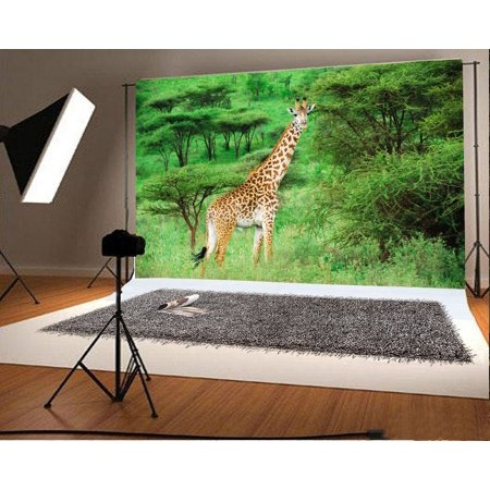 GreenDecor Polyster 7x5ft Photography Backdrop Giraffe Jungle Forest Trees Grass Field Nature Background Baby Kids Children Adults Photo Studio Props](Jungle Safari Backdrop)