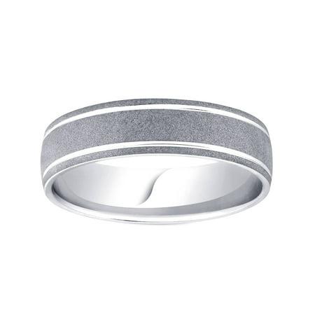 Brushed Wedding Band 950 Palladium Mens 6mm Wedding Ring Comfort Fit