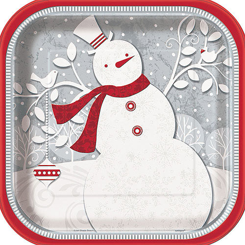 """9"""" Square Frosted Holiday Christmas Dinner Plates, 8-Count"""