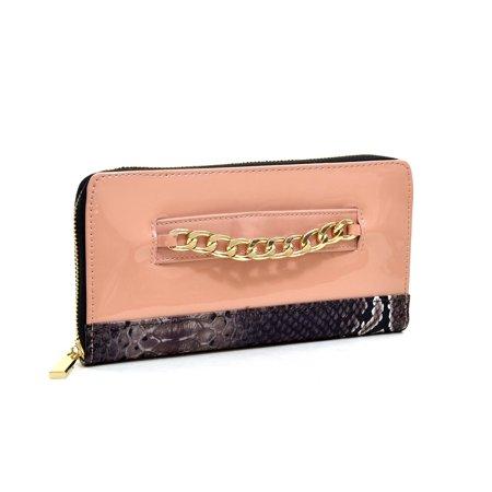 Dasein Gold-Tone Corner Push Lock Wallet Push Lock Wallet