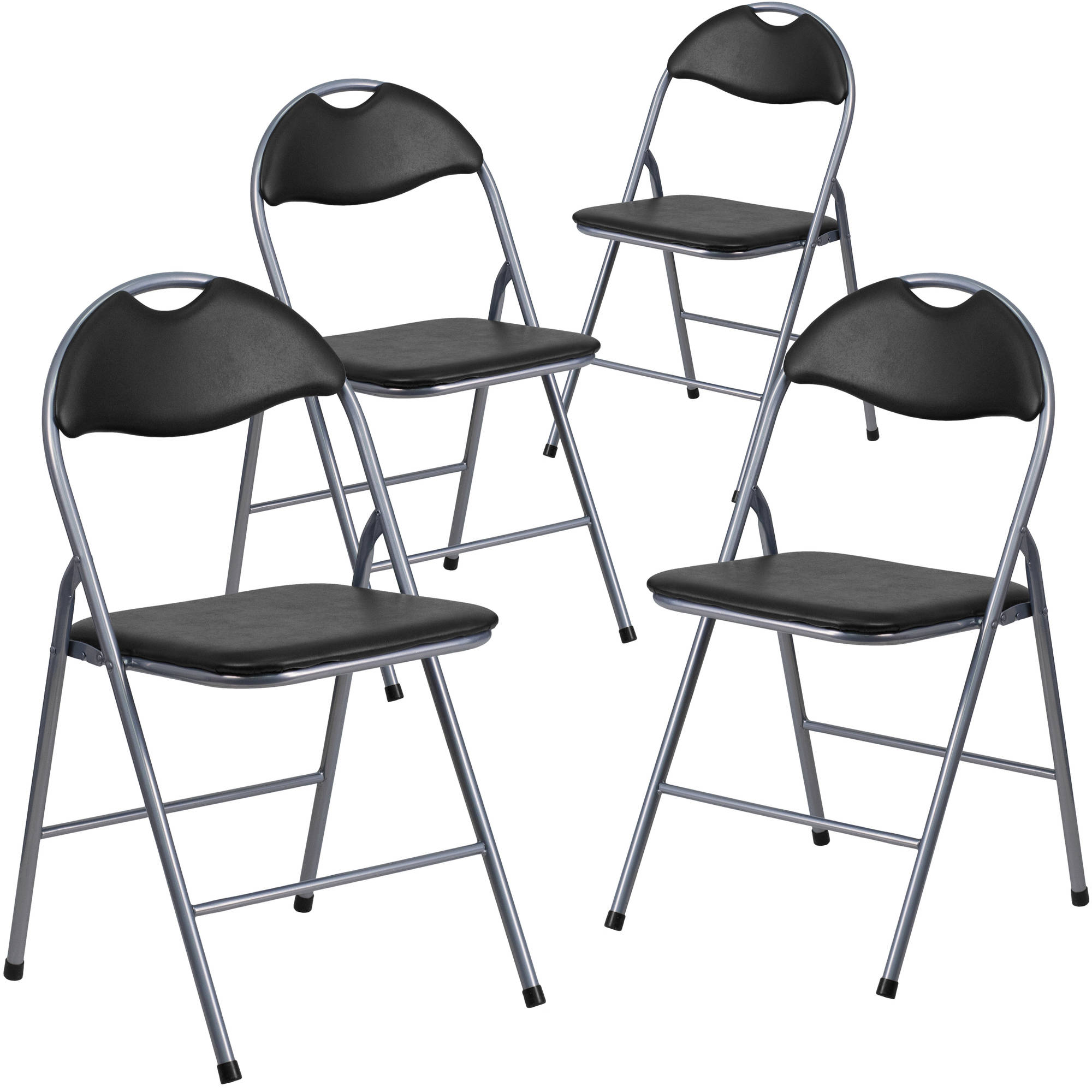 Flash Furniture 4pk HERCULES Series Black Vinyl Metal Folding Chair With  Carrying Handle