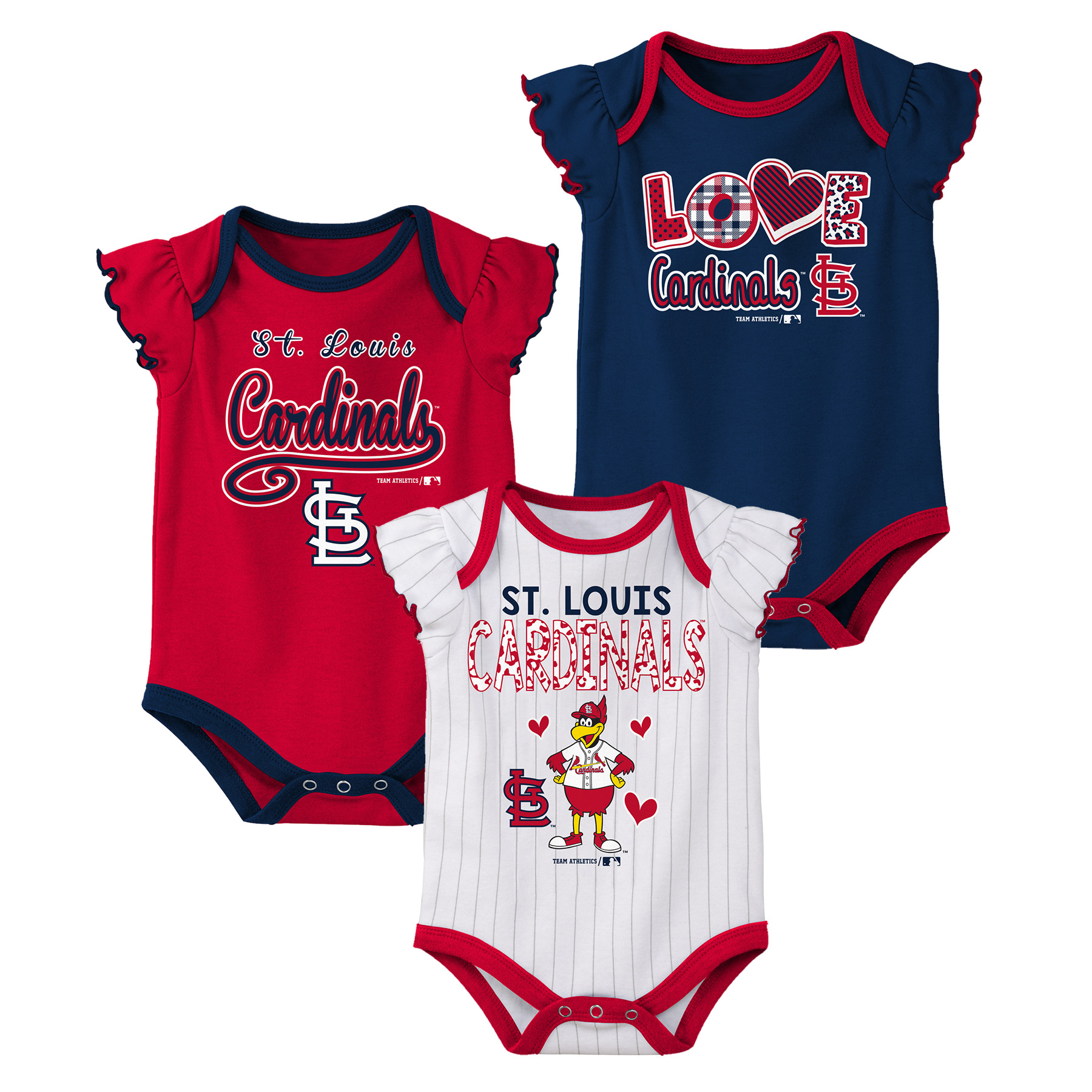MLB St Louis Cardinals Onesie Creeper GIRL 3PK 100% Cotton ASSORTED Colors 0M-18M