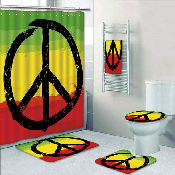 African Flag Colors Hippie Peace Sign, Peace Sign Bathroom