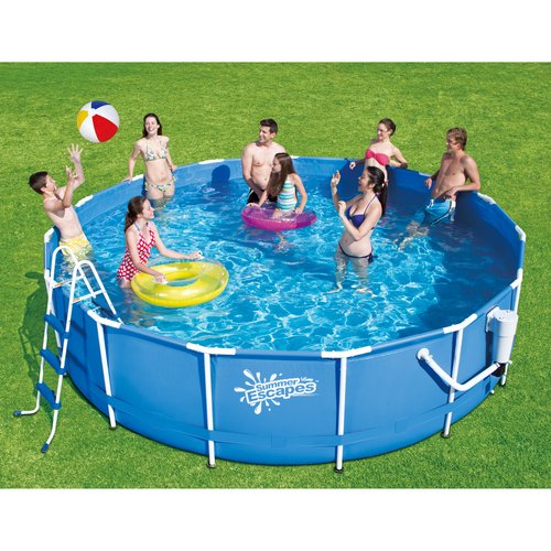 """Summer Escapes 15' x 41"""" Metal Frame Pool and Accessories Deluxe Pool Kit"""