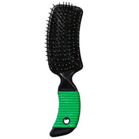DARK GREEN HILASON WESTERN TACK HORSE GROOMING MANE AND TAIL CURVED GRIP BRUSH