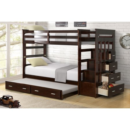 Harper Bright Designs Twin Over Twin Wood Bunk Bed With Trundle