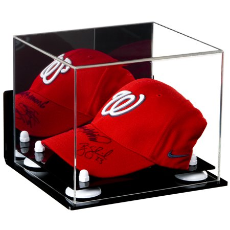 Deluxe Acrylic Baseball Cap Display Case White Risers Mirror Wall Mount (A006-WR) Wall Mounted Acrylic Cap Case