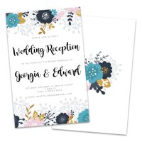 Modern Florals Personalized Wedding Reception Invitations