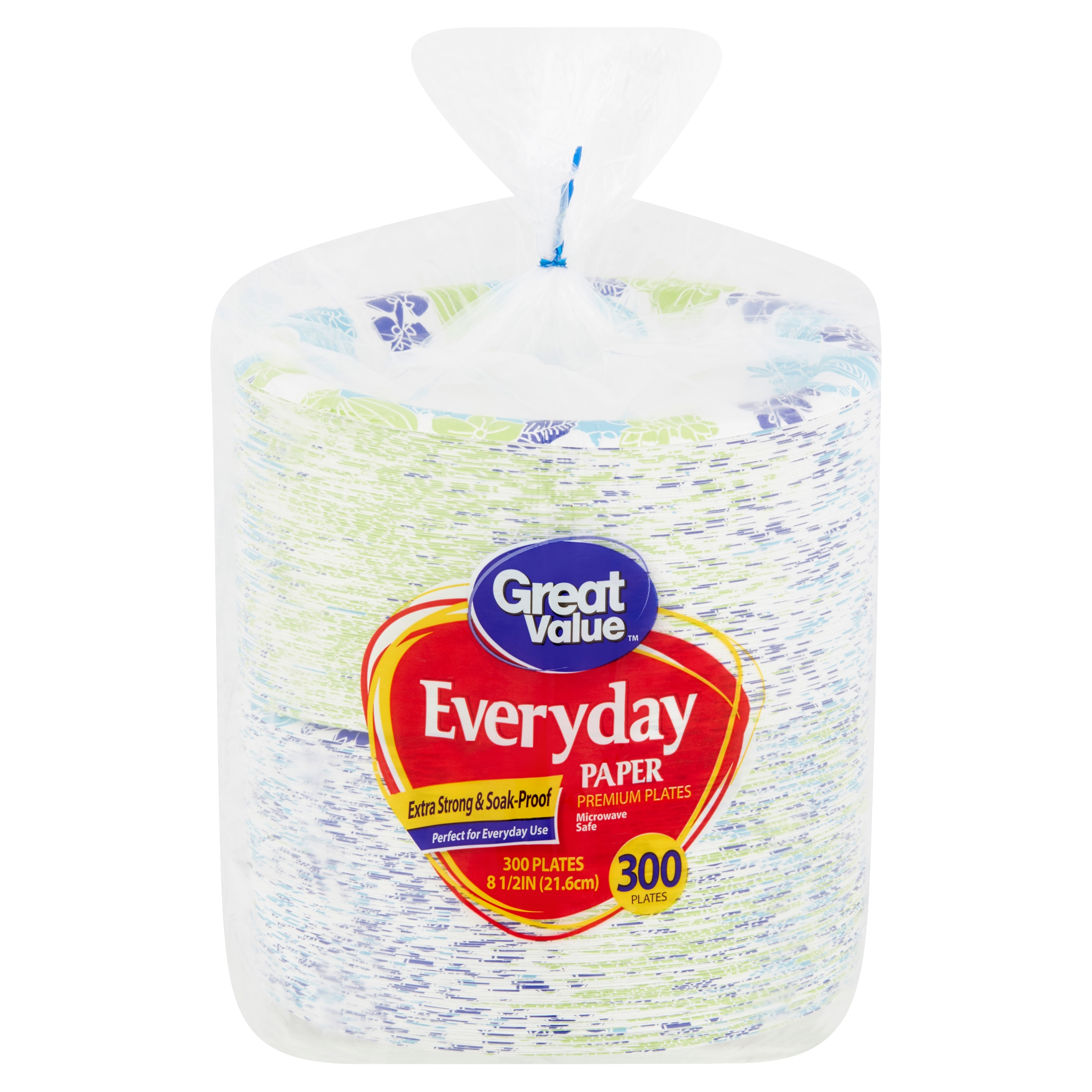 "Great Value Everyday Premium Paper Plates, 8 5/8"", 300 Count"