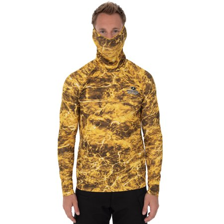 Mossy Oak Men's Insect Repellent Long Sleeve Performance Fishing Tee with Gaiter (Yellowfin Camo, 3XL) (Shimano Fishing Shirts For Men)