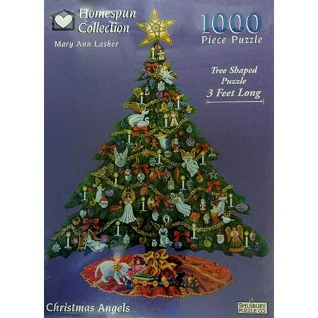 Angel Shaped Christmas Tree.Homespun Collection Christmas Angels Tree Shaped Puzzle