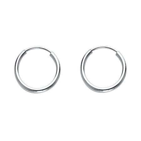 14k White Gold Small Round Hoop Earrings Plain Endless Style Classic Polished Very Tiny 12 x 1 mm