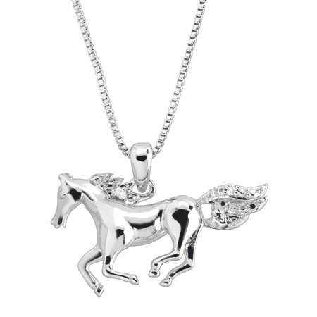 White Gold Horse Pendant (Horse Pendant Necklace with Diamond in 14kt White Gold-Plated Brass )