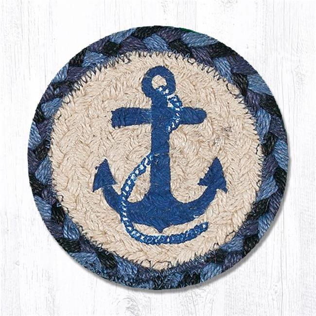 Capitol Importing 31 Ic443na 5 X 5 In Navy Anchor Printed Round Coaster
