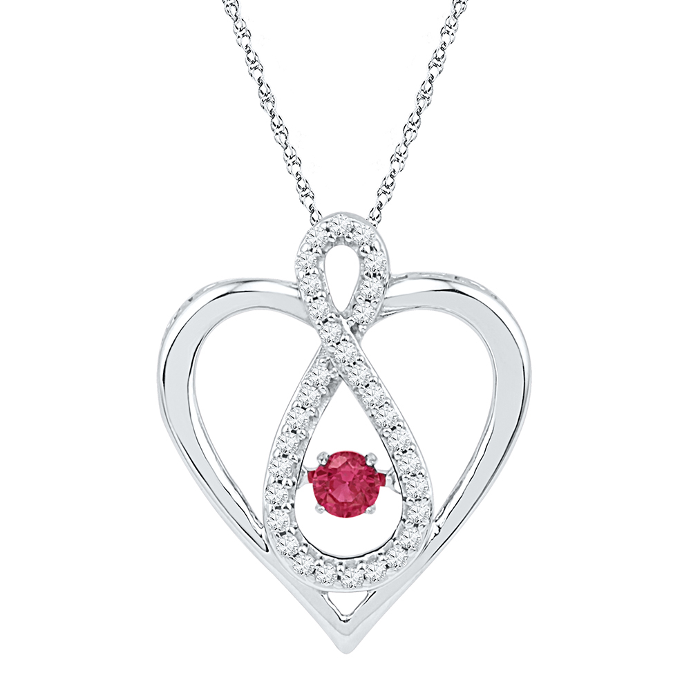 10kt White Gold Womens Round Lab-Created Ruby Diamond Infinity Heart Pendant 1 4 Cttw by GND