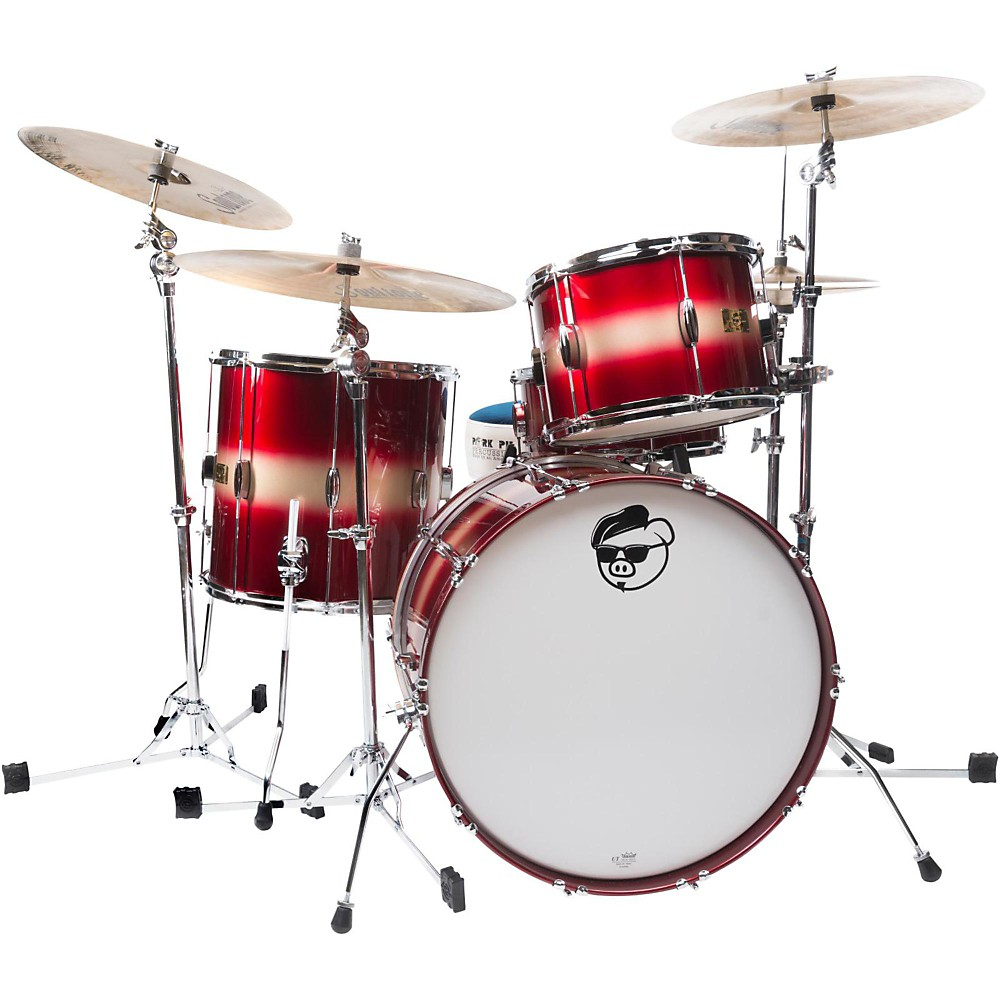 "Pork Pie Hip Pig 3-Piece Mahogany shell Pack with 22"" Bass Drum Red/Gold Duco Finish"