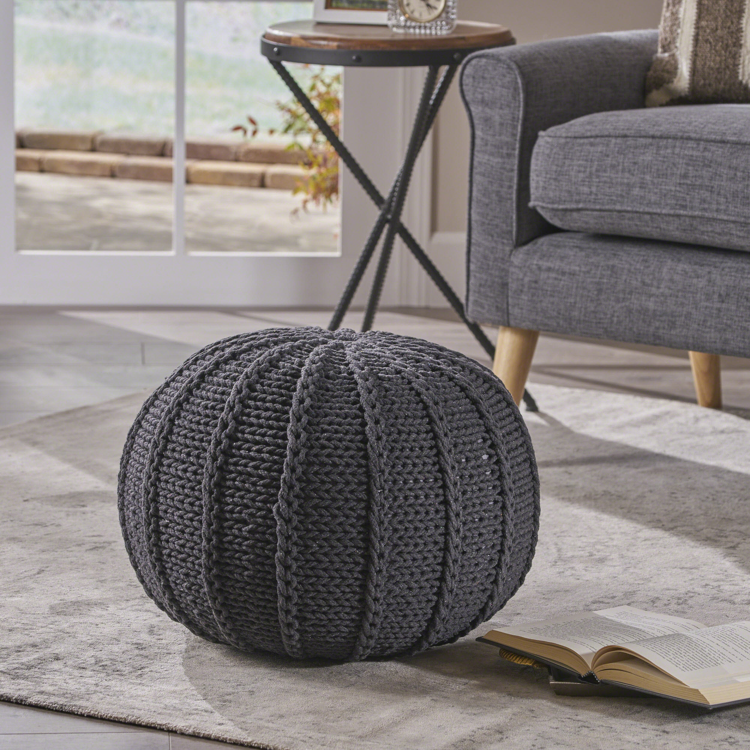 Noble House Cody Knitted Cotton Pouf, Dark Grey