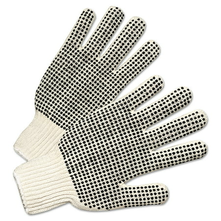 Anchor Brand PVC-Dotted String Knit Gloves, Natural White/Black, 12 Pairs -ANR6705