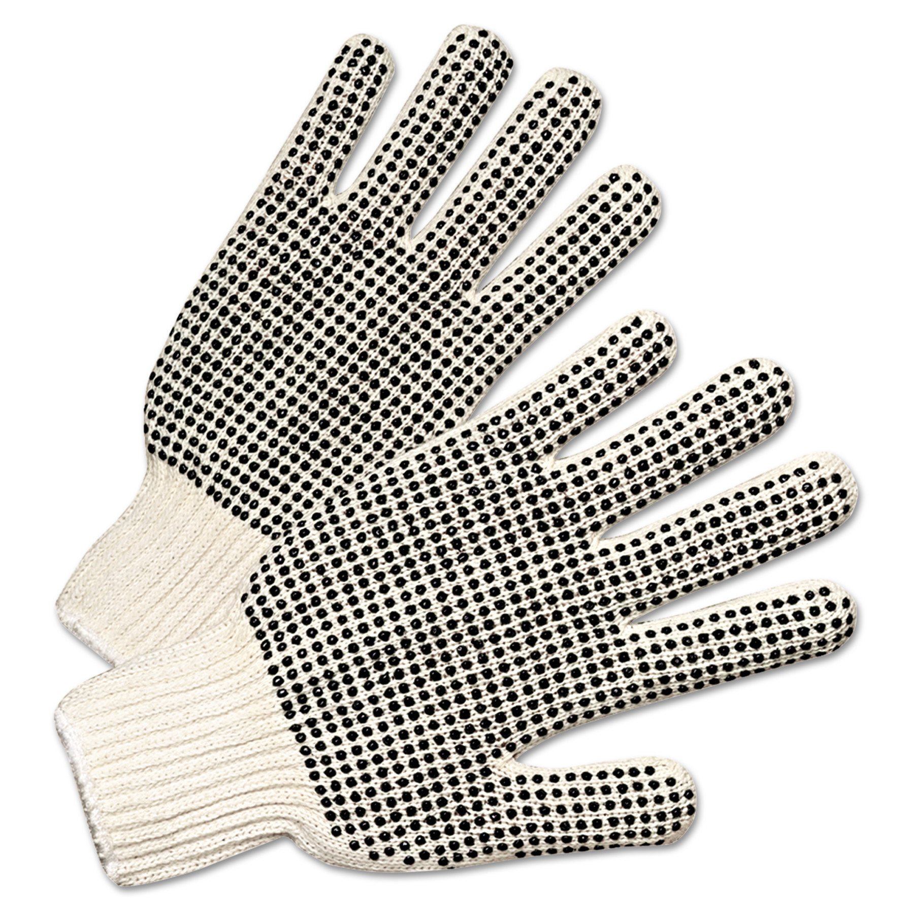 Anchor Brand PVC-Dotted String Knit Gloves, Natural White/Black, 12 Pairs