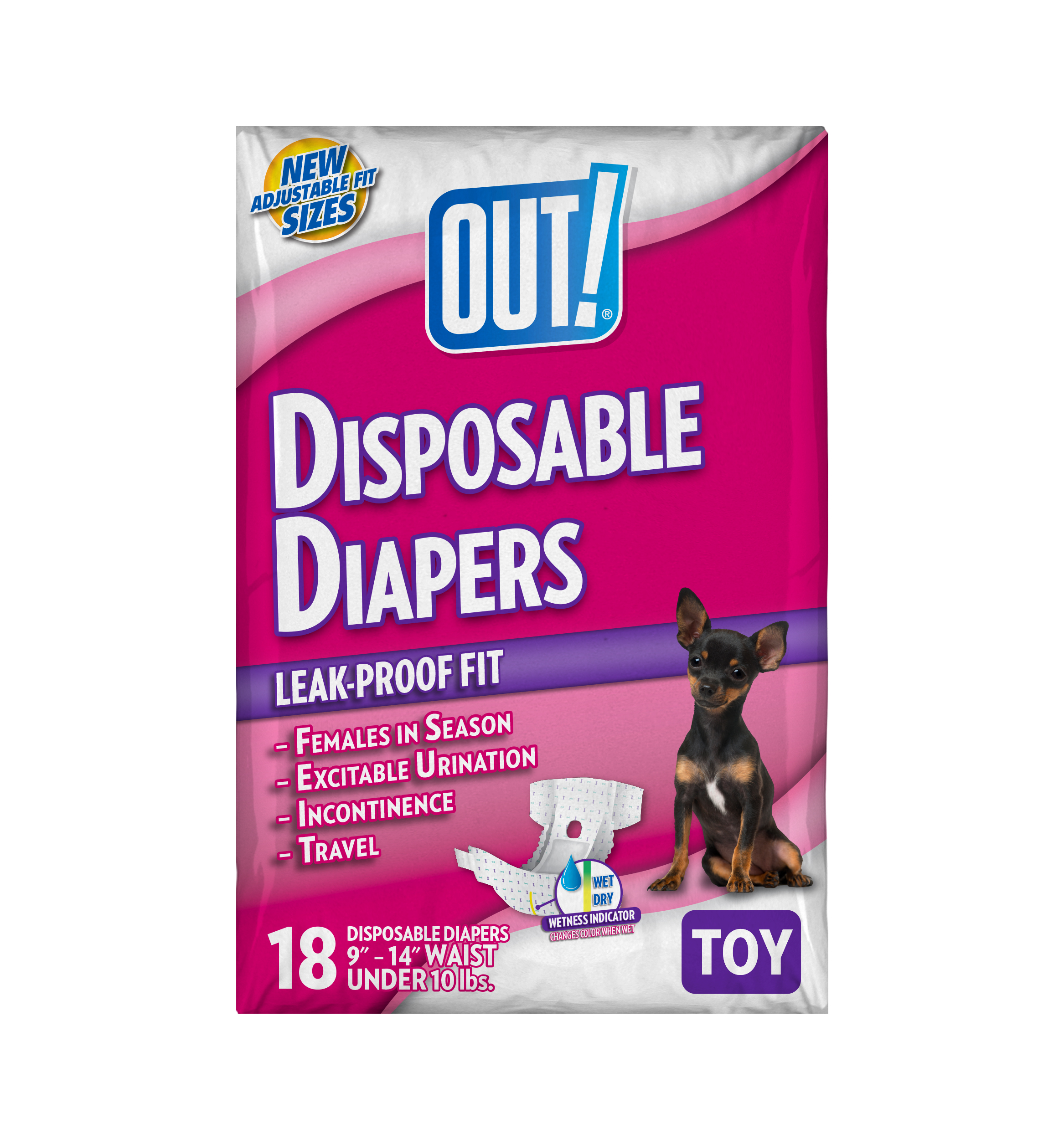 OUT! Disposable Dog Diapers, TOY, 18 ct