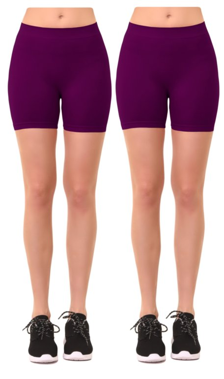 Women's 2 Pk Plus Size Seamless Stretch Yoga Exercise Shorts Bike Shorts (1X-2X)