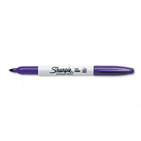 Sharpie Permanent Fine Point Marker - Fine Marker Point Type - Purple Alcohol Based Ink - 12 / Dozen (30008)