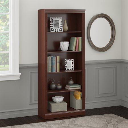 Bush Furniture Saratoga 5 Shelf Bookcase in Harvest (Raleigh Cherry)