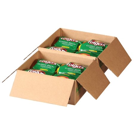 Folgers Filter Packs Classic Decaf Coffee, 2 Boxes 80 Total, Premeasured Coffee and Filter in a Single Pouch