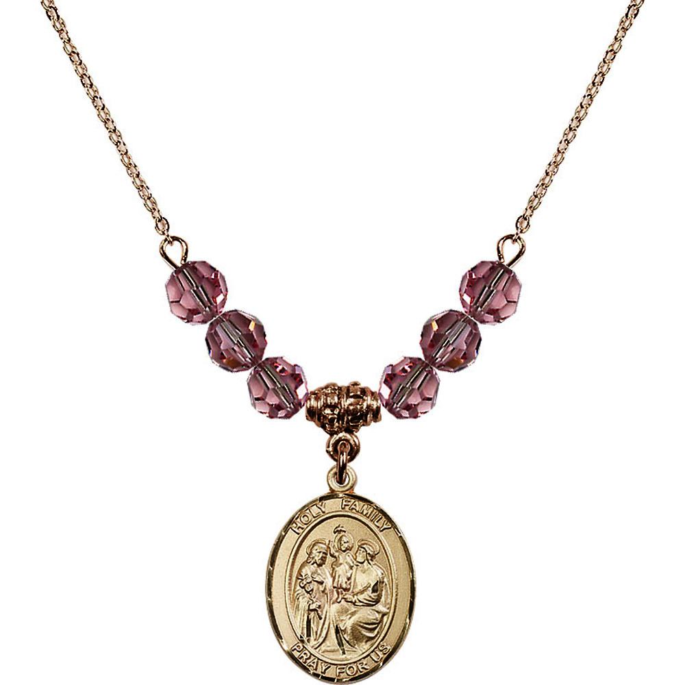 18-Inch Hamilton Gold Plated Necklace with 6mm Light Rose Pink October Birth Month Stone Beads and Holy Family Charm