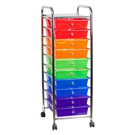 Sunbeam 10-Drawer Rolling Cart, Multi-Color