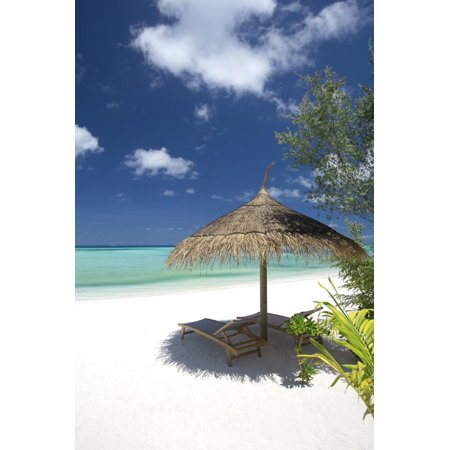 Lounge Chairs under Shade of Umbrella on Tropical Beach, Maldives, Indian Ocean, Asia Print Wall Art By Sakis (Best Eye Shades For Indian Skin)