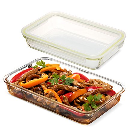 Komax Oven Safe Glass Casserole Baking Dish - Large 12 by 8 inch Food Storage Roasting Lasagna Pan - Airtight Container With Locking Lids - BPA Free - 64oz.
