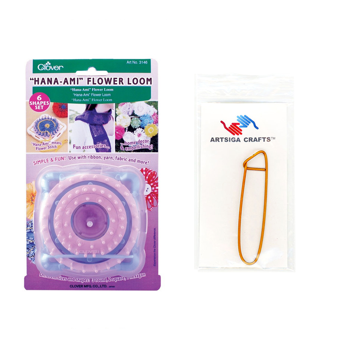Clover Bundle: Hana-Ami Flower Loom + 1 Artsiga Crafts Stitch Holder 3146