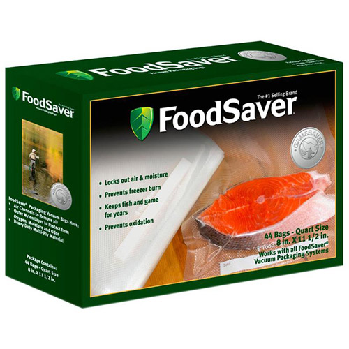 "Food Saver GameSaver 8 x 11"" Quart-Size Bags, 44-Pack"