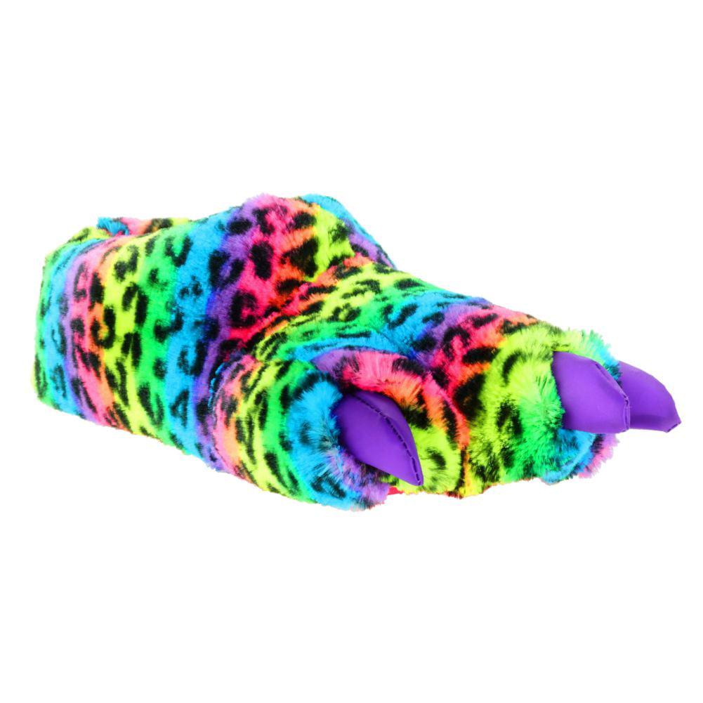Girls Plush Rainbow Leopard Print