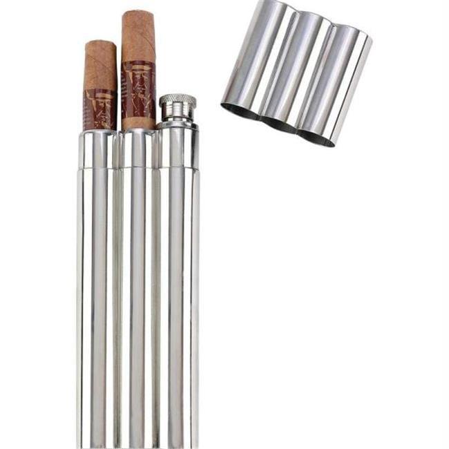 Maxam KTFLKCG16 Maxam 16pc 2oz Stainless Steel Flask With 2 Cigar Tubes In Countertop Display- Di