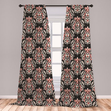 Damask Curtains 2 Panels Set, Classical Curly Antique with Rococo Style Details Venetian Vintage, Window Drapes for Living Room Bedroom, Black Cream Red, by Ambesonne Imperial Damask Antique