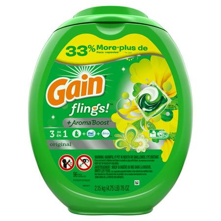 Gain Flings! Laundry Detergent Pacs, Original, 96 Count