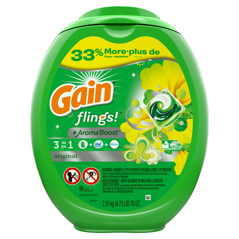 Gain flings! Liquid Laundry Detergent Pacs, Original, 96 count