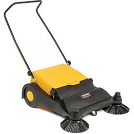 "Industrial Push Sweeper 32"" Cleaning Width Black and Yellow, Lot of 1"